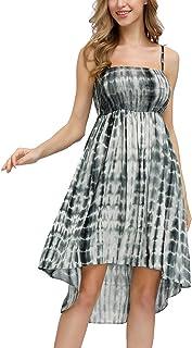 Zexxxy Women Sleeveless Casual Sundress High Waist Tie-Dye Beach Cover Up Dress
