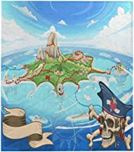 InterestPrint Neverland Adventure Game Cove Pirate Treasure Island Map Soft Comfy Breathable Quilt Twin XL 70x80