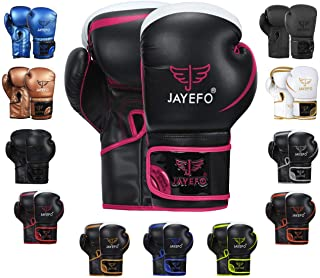 Jayefo Glorious Boxing Gloves Muay Thai Kick Boxing Leather Sparring Heavy Bag Workout MMA Pro Leather Gloves Mitts Work f...