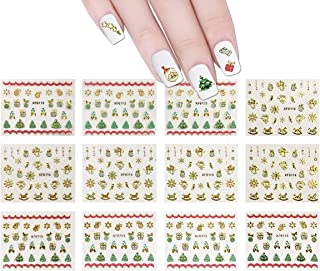 ALLYDREW 1200+ Festive Holiday Nail Stickers Christmas Nail Art Stickers (50 sheets)