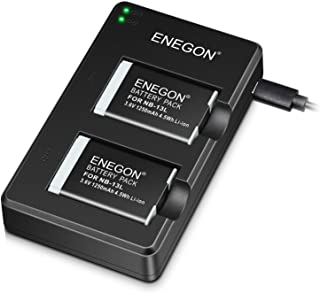 ENEGON NB-13L Paquete De Baterías De Lones De Litio (2-Pack) y Cargador USB Dual para Cámaras Canon PowerShot G5XG7XG7 X Mark IISX720 HSSX730 HSSX740 HSSX620 HSG1X Mark IIIG9XG9XG9X Mark II