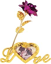 MSA JEWELS 24K Gold Plated Rose with Love Stand Photo Frame & Black Velvet Box for Valentine, Birthday & Decor Gift (30 x 10 x 8 cm) (Purple)