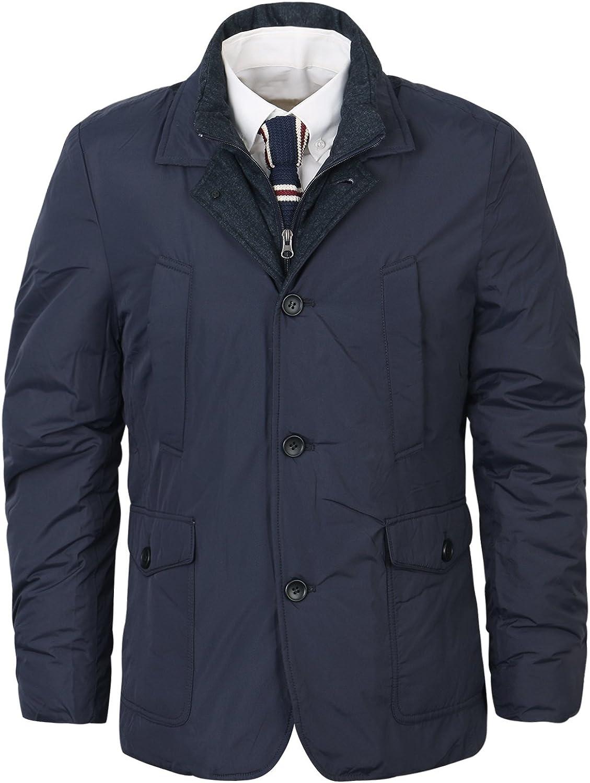 ililily Men One Color Simple Casual Padded Warm Multi-wear Winter Jacket Coat