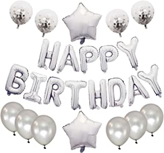 Spedol Happy Birthday Banner with Alphabet Balloons Star Shaped Balloons Latex Balloons for Birthday Decorations (C04-Ligh...