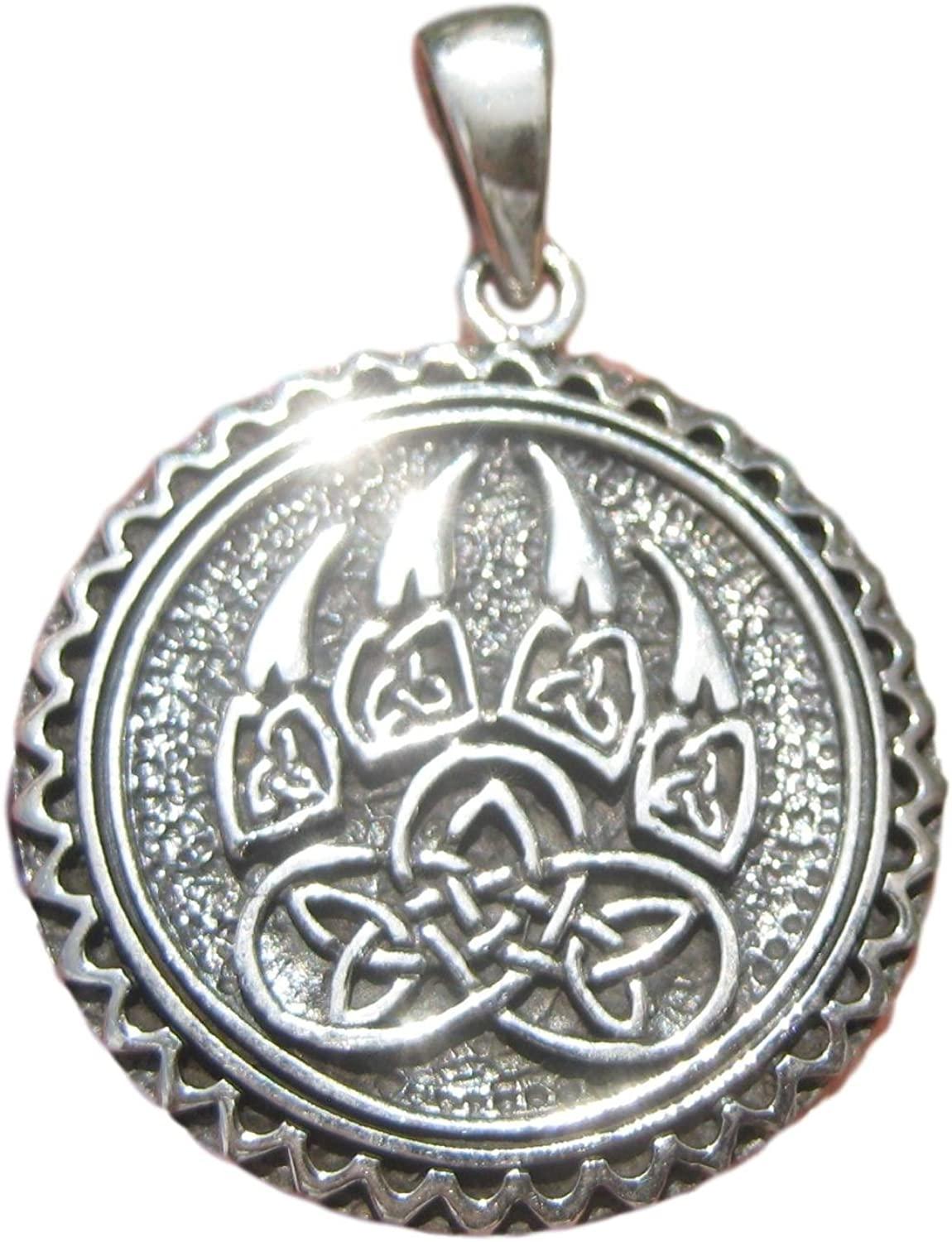925 Max 79% OFF Silver Viking Celtic Style Wolf A2 Paw Necklace Pendant Time sale Claw