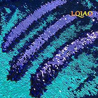 Elegant Reversible Sequin Fabric-Turquoise Purple Shimmer Mermaid Sequin Fabric Emboridery Flip Up Sequin Fabric By The Half Yard Clothing Wedding/Evening Dress DIY