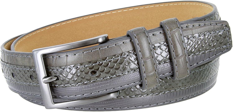 Genuine Leather Belt with Alligator, Lizard and Snake Skin Embossing Office Career Dress Belt