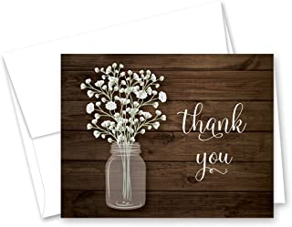 MyExpression.com 50 Baby Breath in Mason Jar Wedding Thank You Cards + Envelopes