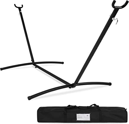 Best Choice Products 9ft Portable Steel Hammock Stand w/Carrying Case - Black