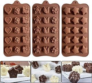 Lot de 3 Silicone Moules à Chocolat, Moules à Bonbon Moules à Glacons Silicone pour Fabrication de Gâteaux Faits à La Mai...
