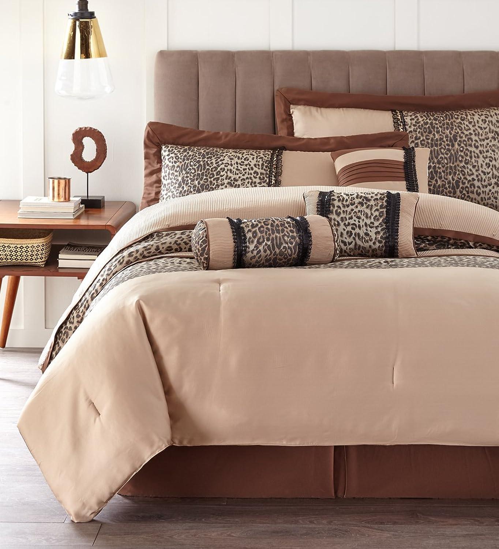Nanshing SADIE7-K Sadie Collection Bedroom Comforter Complete 7 Piece Set, King, Brown Taupe