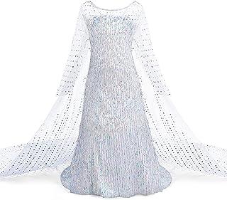 AmzBarley Girls Princess Costume Kids Sequins Cloak Hollow Long-sleeve Dress Fancy Party Cosplay Dress Up Clothes