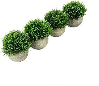 U'Artlines Artificial Plastic Mini Plants Topiary Shrubs Fake Plants with Gray Pot for Bathroom,House Decorations (4pcs Green Grass)
