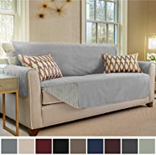 Gorilla Grip Original Slip Resistant Large Sofa Protector for Seat Width up to 70 Inch, Patent Pending Suede-Like Furniture Slipcover, 2 Inch Straps, Couch Slip Cover Throw for Dogs, Sofa, Charcoal
