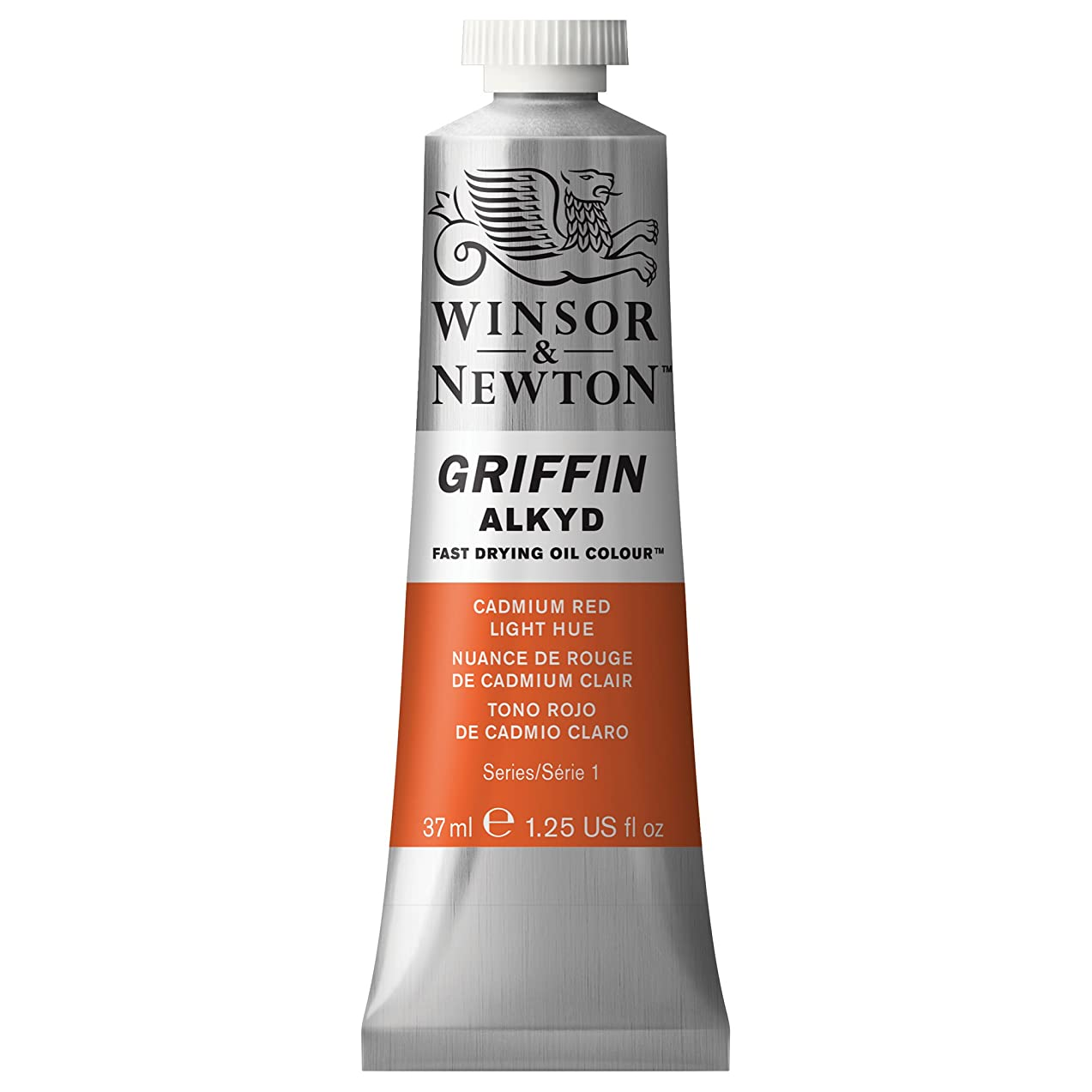 Winsor & Newton Griffin Alkyd Fast Drying Oil Colour Paint, 37ml tube, Cadmium Red Light Hue