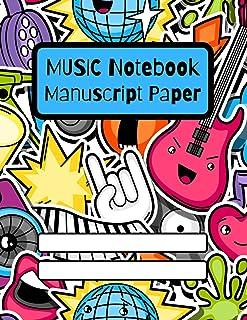 Music Notebook: Manuscript Paper Music Writing Notebook For Kids | Blank Sheet Music Notebook | 10 Staves Per Page | ... |...