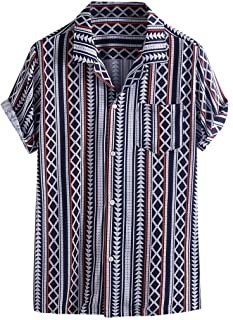 QIBOOG Men's Colorful Stripe Summer Short Sleeve Loose Buttons Casual Shirt Blouse