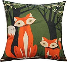 Lovely Animal Fox Throw Pillow Case Decor Cushion Covers Square 18*18 Inch Beige Cotton Blend Linen