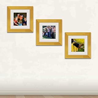 ArtzFolio Wall Photo Frame D484 Golden 6x6inch;Set of 3 PCS with Mount