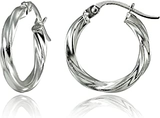 Sterling Silver Twisted Click Top Hoop Earrings in Sizes 15mm – 25mm | Sterling Silver, Yellow & Rose Gold Flash Plated