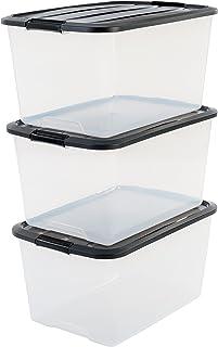 Iris Ohyama, Boîtes de Rangement Empilables avec Fermeture Clic - Top Box, Set de 3, 45 L, Transparent (Couvercle Noir)