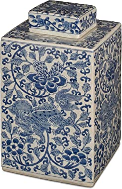 China Furniture Online Blue and White Porcelain Lotus Tea Jar