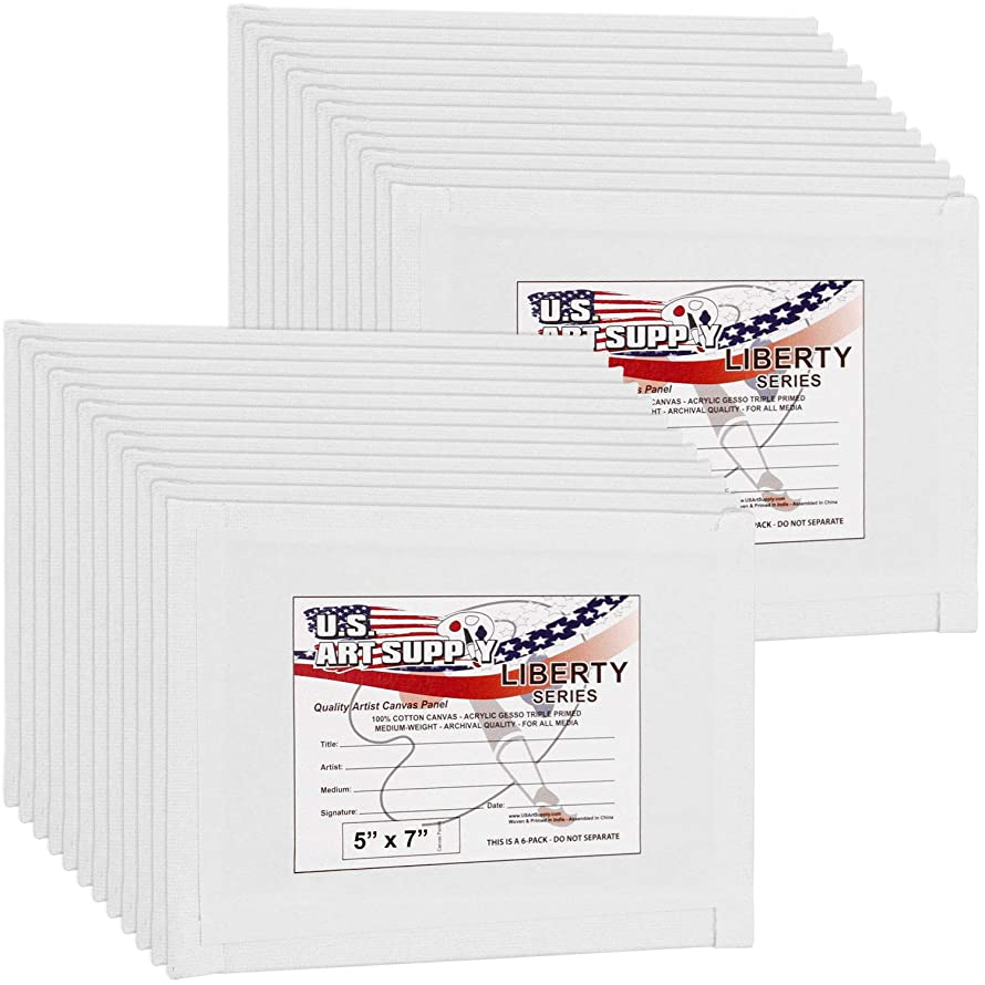 US Art Supply 5 X 7 inch Professional Artist Quality Acid Free Canvas Panel Boards for Painting 24-Pack (1 Full Case of 24 Single Canvas Board Panels)