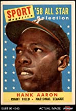 1958 Topps # 488 All-Star Hank Aaron Milwaukee Braves (Baseball Card) Dean's Cards 4 - VG/EX Braves