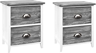 Artiss Bedside Tables Set of 2, Wooden Side Tables, Grey
