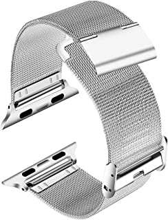 LUNANI Smartwatch Bands Compatible with Apple Watch Band 38mm 40mm, Stainless Steel Mesh Sport Wristband Loop with Adjustable Clasp for iWatch Series 4 3 2 1, Silver