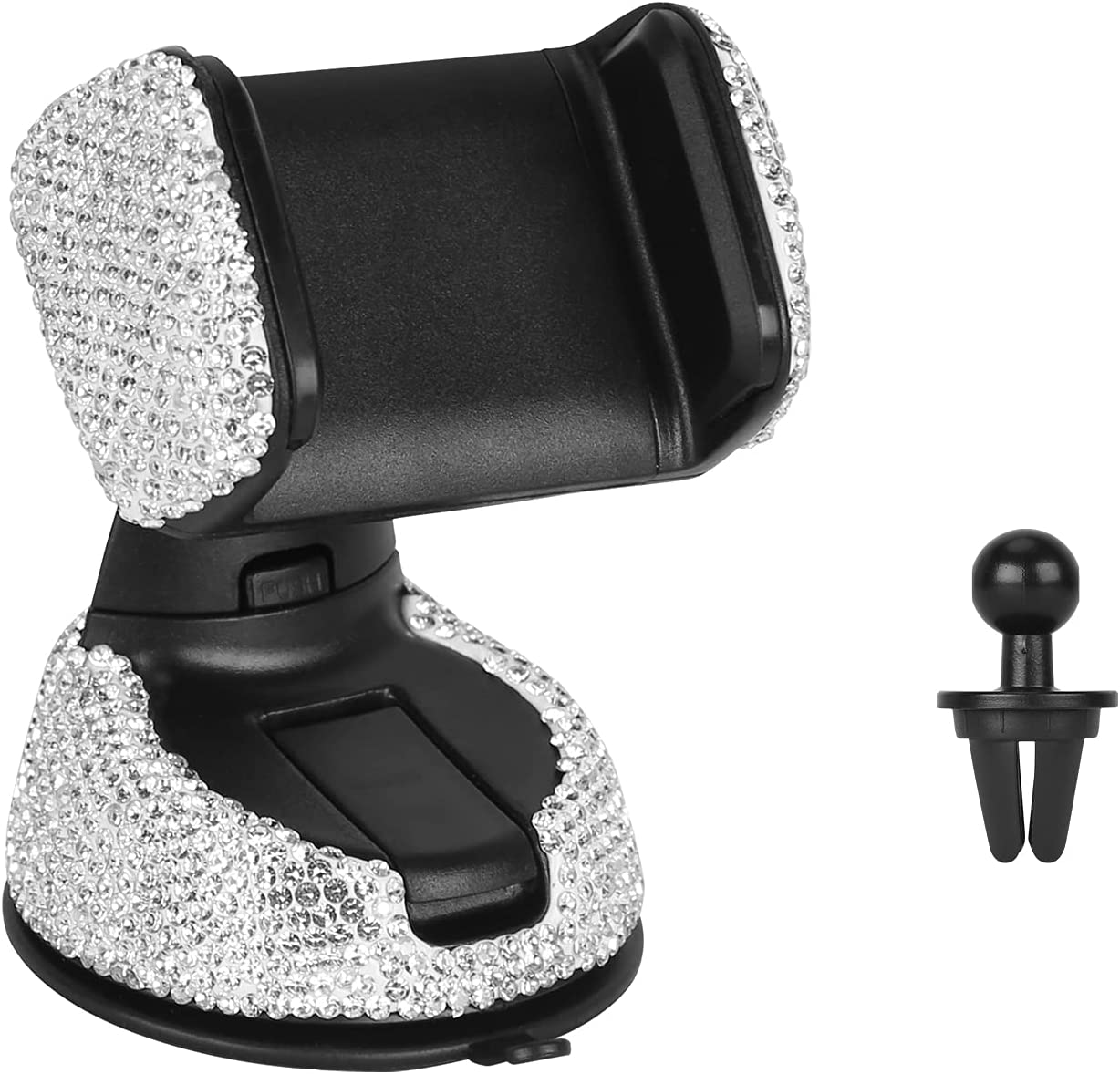 Bling Car Mount Stand Phone Holder, Crystal Rhinestone Universal Cell Phone Holder 360° Adjustable Auto Phone Mount Car Accessories for Dashboard Windshield Air Vent (White)