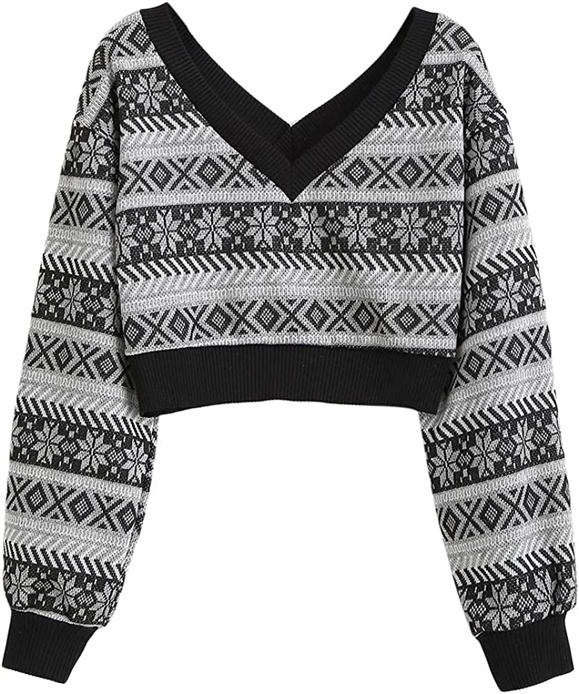 ZAFUL Women's Double V Neck Striped Sweater Color Block Pullover Cropped Tops