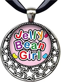 GiftJewelryShop Cartoon Theme Retro Style Round Seven Stars Pendant Charm Necklaces, Jelly Bean Girl Easter
