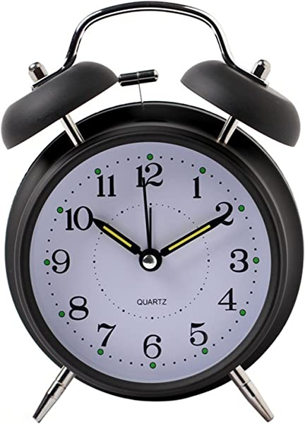 Yxaomite Twin Bell Alarm Clock 4 Home Decor Bedside Desk Clock Vintage Silent Loud Mute Quartz Analog Retro With Stereoscopic Dial Backlight Battery Operated Non Ticking For Kids Bedroom Black