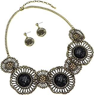 """Rosemarie Collections WomenÆs Fashion Flower Floral Statement Necklace and Matching Earrings Jewelry Set 18"""" with 3"""" Extender"""