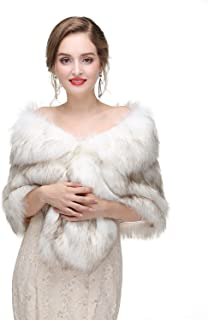 Limeng Women's Faux Fur Shawl Wraps Winter  Stole Shrug for Bridal Ladies