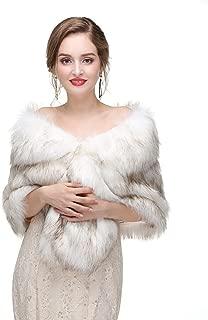 Wedding Women Faux Fox Fur Wraps Shawls Stoles Cape Shrug for Bridal Evening Party