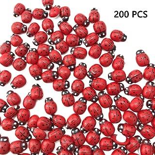 Sc0nni 200Pcs Painted Wooden Ladybug/Self Adhesive/Craft/Decorations/Home Decor/Plants 10x13mm