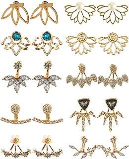 10 أزواج أقراط زهرة اللوتس مجوهرات بسيطة أنيقة أفضل هدية للنساء الفتيات