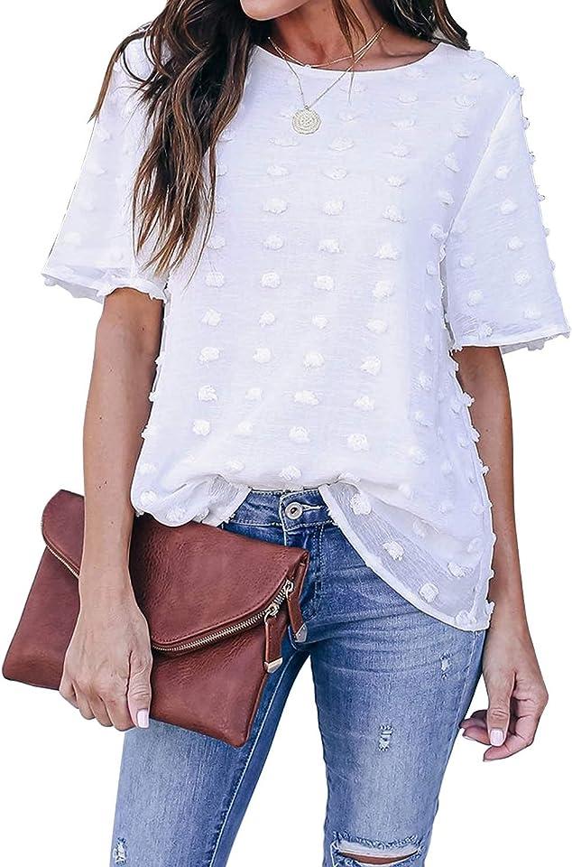 Damen Chiffonbluse Sommer Casual Rundhals Kurzarm Schweizer Punkt T Shirts Tops