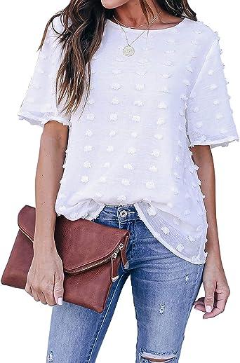 Blooming Jelly Camiseta para Mujer Blusa de Gasa Blanca Cuello Redondo Tops de Manga Corta Camisa Elegante Suelta Informal