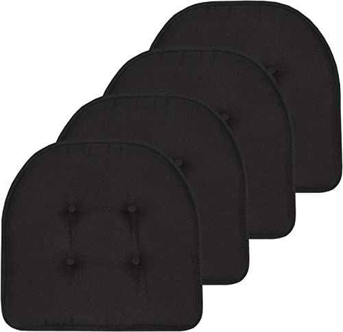 """Sweet Home Collection Chair Cushion Memory Foam Pads Tufted Slip Non Skid Rubber Back U-Shaped 17"""" x 16"""" Seat Cover, ..."""
