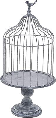 "Deco 79 74885 Farmhouse Metal Birdcage Planter, 11"" W x 22"" H, Gray"