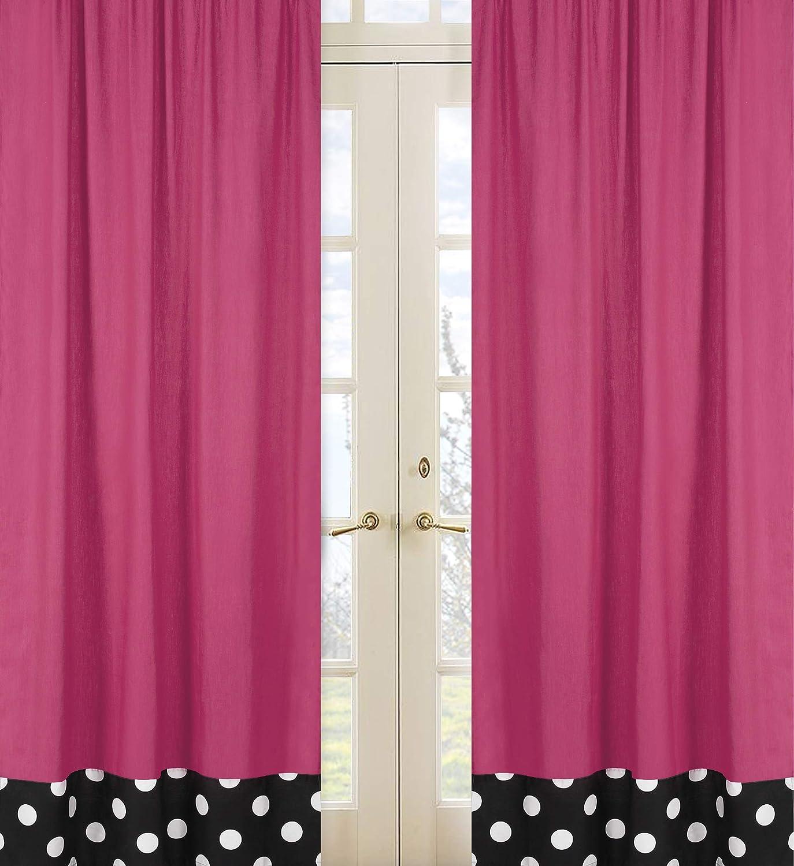 Sweet Jojo Designs 2-Piece Pink Hot Dot Modern Window Treatment Panels