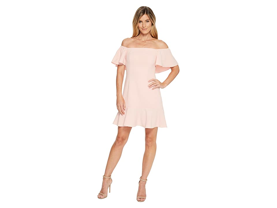Vince Camuto Off the Shoulder Dress with Top Ruffle and Flounce (Blush) Women