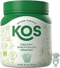 KOS Organic Wheatgrass Juice Powder   Chlorophyll Rich Premium Wheatgrass Juice Powder   USDA Organic, Cold-Pressed & Air Dried, Fiber Rich Plant Based Ingredient, 360.4g, 132 Servings