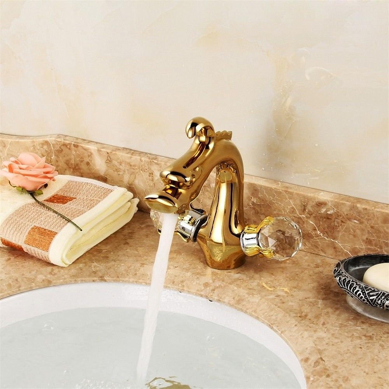 LHbox Continental Antike Waschbecken Wasserhahn Warmes und Kaltes Volle Antik Kupfer Einloch Einzigen Kalten Wasserhahn Waschtisch Wasser Mischventil Wasserhahn, VerGoldet