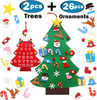 Originalidad Felt Christmas Tree Set- DIY Christmas Tree with 26 Pcs Detachable Ornaments & Christmas Countdown Calendar with 24 Days Pockets for Kids Xmas Gifts Christmas Decorations