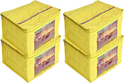 Heart Home 4 Pieces Raw Silk Saree Cover Wardrobe Organizer (Yellow) - CTHH11499