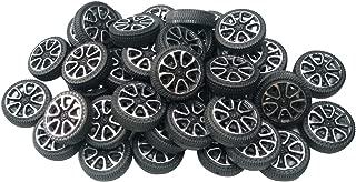EUDAX 100pcs Plastic Roll 2mm Dia Shaft Car Truck Model Toys Wheel (30mmx9mm )